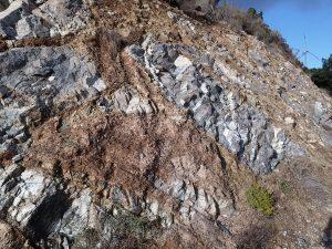 Filón hidrotermal de mica vermiculitas en dique ácido