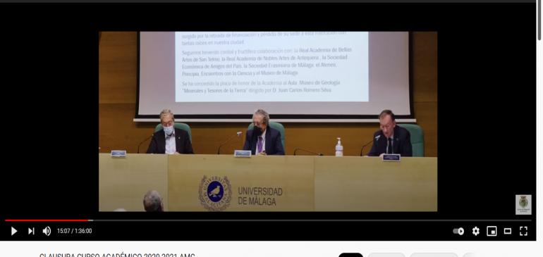 2 de Julio 2021 Concesión de la Placa de Honor Academia Malagueña de Ciencias al Aula Museo de Geologia Málaga