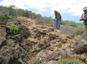 Mining historical survey on ancient outcrops. Graphite mines El Nicio (Estepona)  Exploration works