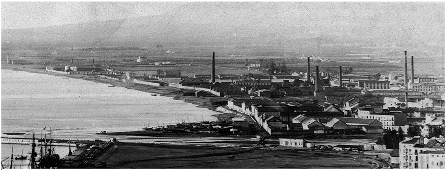 Siglo XIX. Ubicación de la zona industrial malagueña
